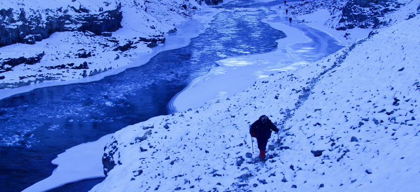 Climb where river not frozen